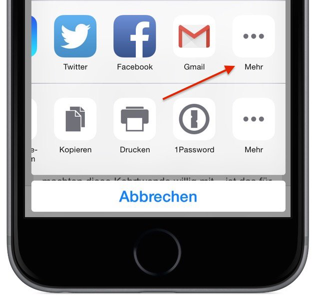 iPhone Teilen empfehlen versenden Safari Aktion 3