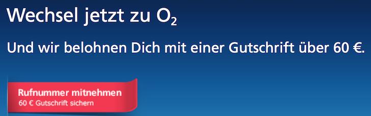 60 EUR Gutschrift für Wechsel zu o2