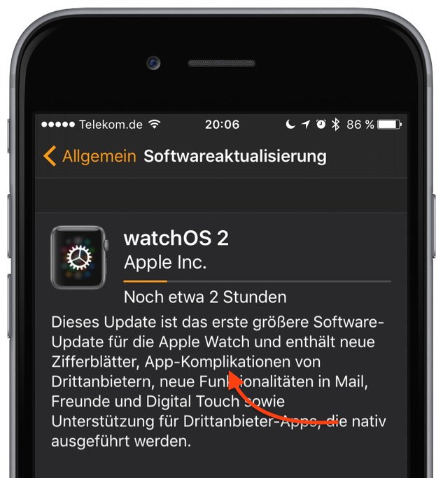 Apple Watch iPhone WatchOS 2.0 Update Upgrade Aktualisierung verschoben 2