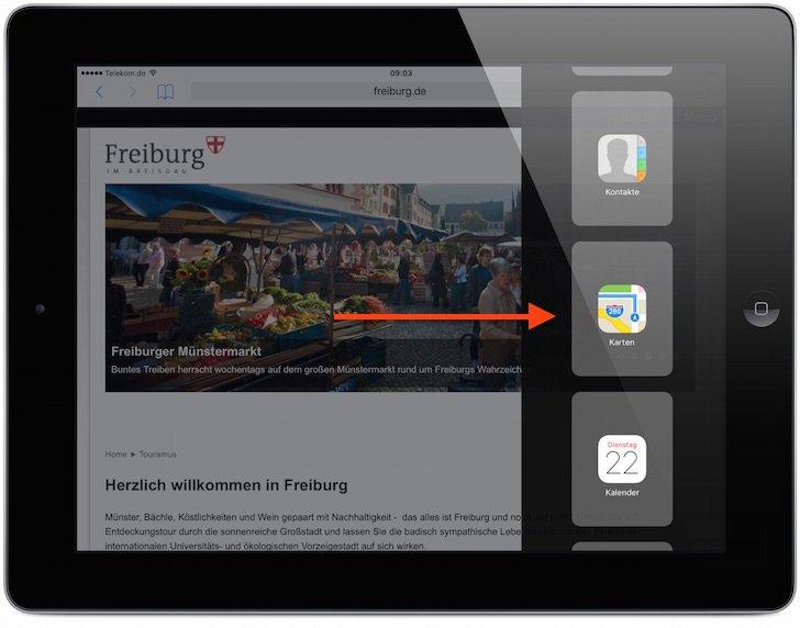 iPad iOS9 iOS 9 Split Screen Split View Geteilter Bildschirm App nebeneinander teilen Multitasking gemeinsam 3