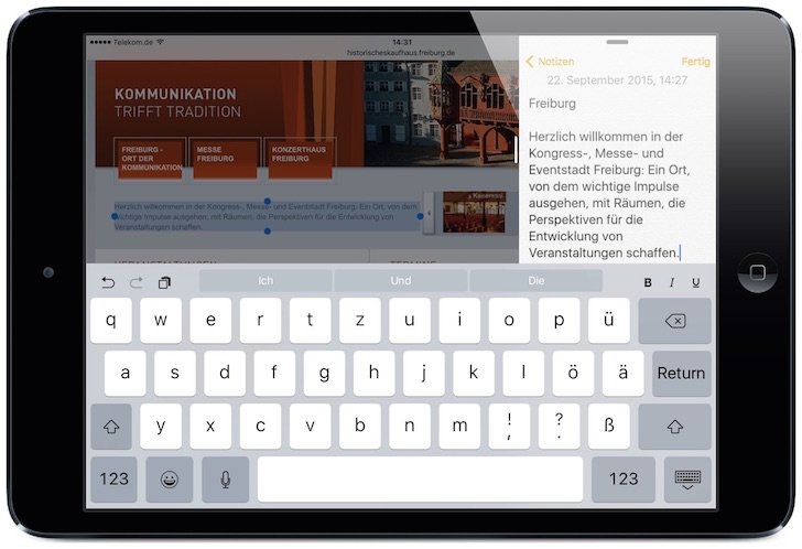 iPad,iOS9,iOS 9,Slide Over,nutzen,Bildschirm teilen,Split View,Multitasking,gleichzeitig 3