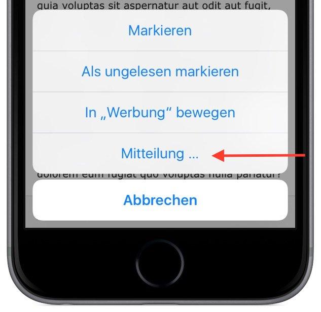 Apple iPhone iOS Mitteilung Nachricht Hinweis E-Mail