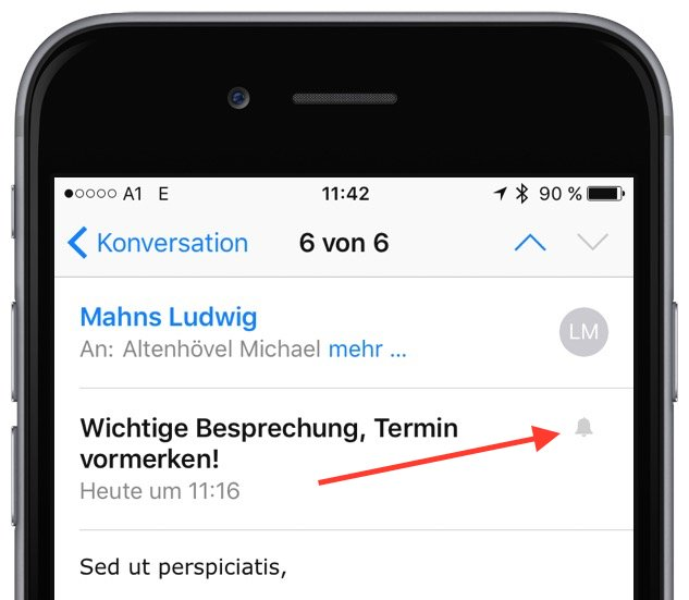 Apple iPhone iOS Mitteilung Nachricht Hinweis E-Mail besonders wichtig 4