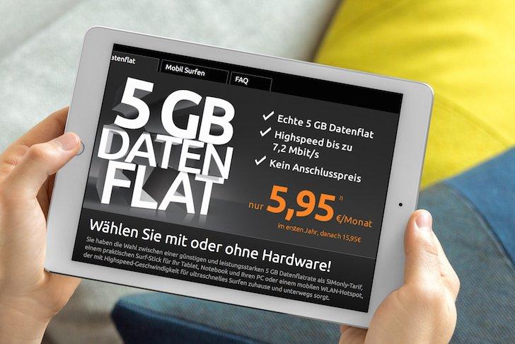 Datenflat SIMonly iPad Tablet Laptop Tarig 5GB Daten Flatrate Klarmobil crash-tarife O2 WLAN-Router Surfstick 1