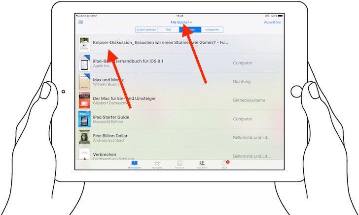 iPad Reader-Ansicht PDF konvertieren speichern iBooks exportieren 5