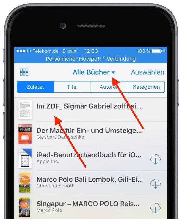 iphone reader ansicht pdf konvertieren speichern ibooks. Black Bedroom Furniture Sets. Home Design Ideas