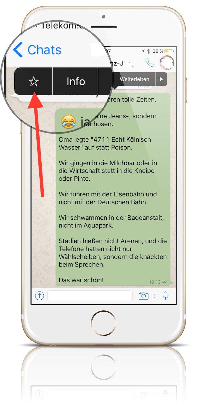 iPhone WhatsApp Favorit Update Funktion hervorheben merken speichern wiederfinden 1