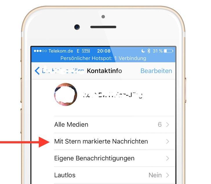 iPhone WhatsApp Favorit Update Funktion hervorheben merken speichern wiederfinden 3