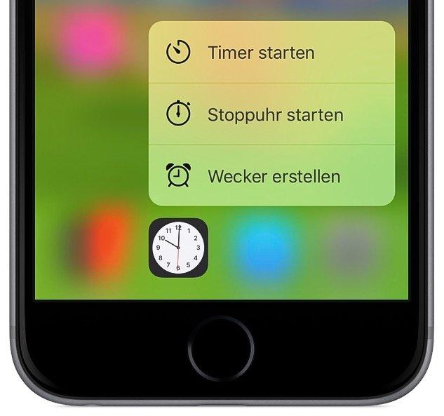 iPhone 6s plus Uhr Wecker stellen 3D Touch Force 2