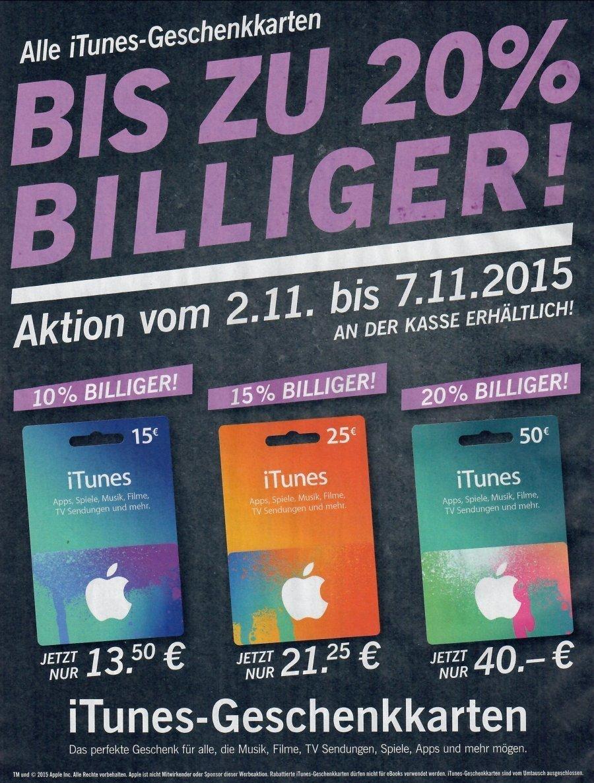 iTunes-Karten mit bis zu 20 Prozent Rabatt bei Lidl
