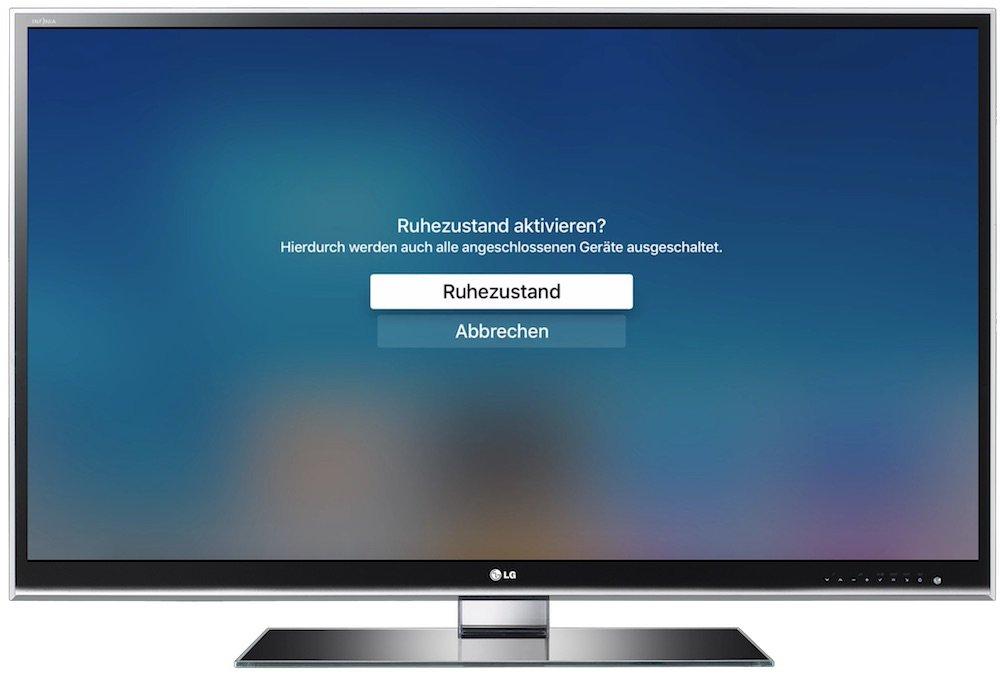 Apple TV 4. Generation AppleTV4 ausschalten Ruhezustand Strom sparen 2