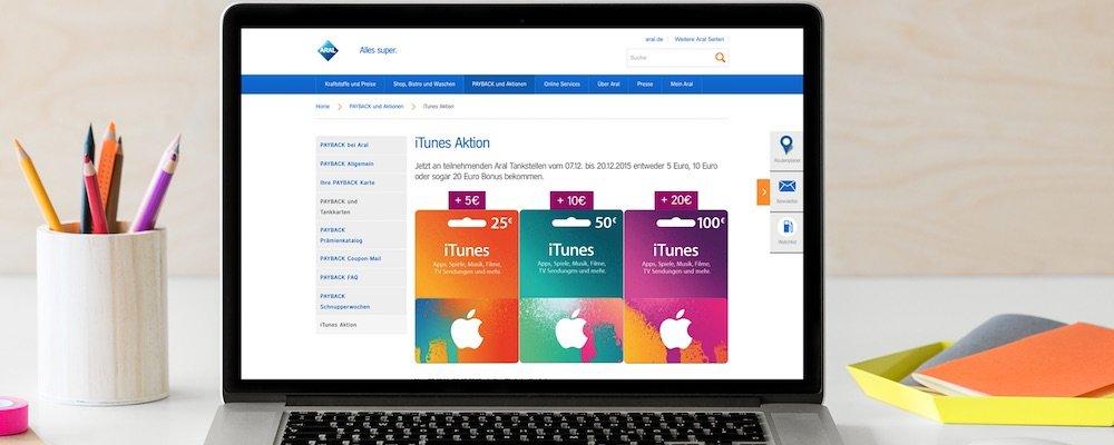 Aral iTunes Gutschein Bonus Guthaben Rabatt günstiger