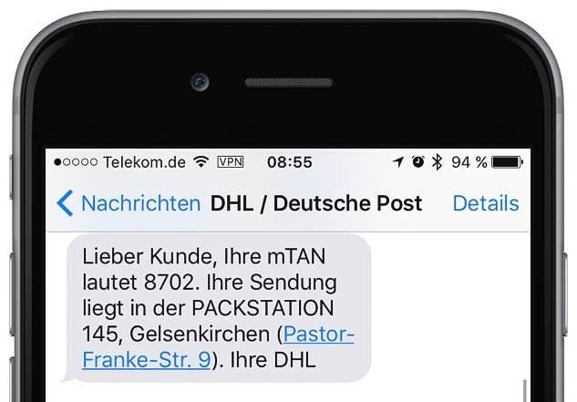 """Die mTAN - """"mobile Transaktionsnummer"""" - ist ein vierstelliger Zahlencode. DHL sendet Ihnen die mTAN per SMS zu, und zwar für jede Sendung, die Ihnen in einer Packstation zugestellt wird:"""