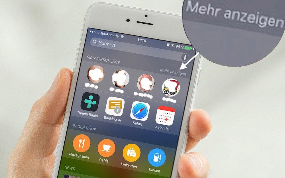 iPhone + iOS 9 Verlauf der letzten Kontakte weg 3