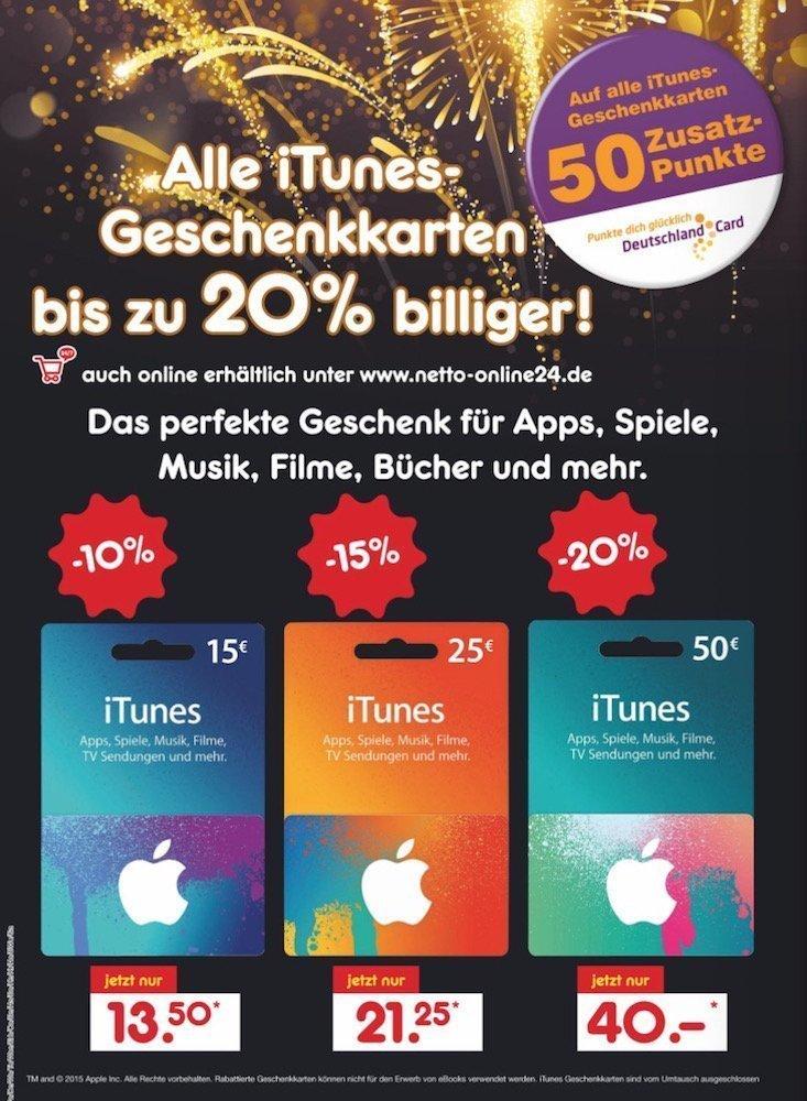 iTunes-Karten mit bis zu 20% Rabatt bei Netto