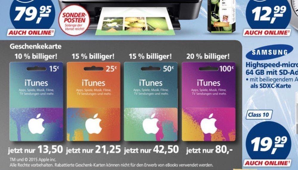 iTunes-Karten mit bis zu 20% Rabatt bei -,real