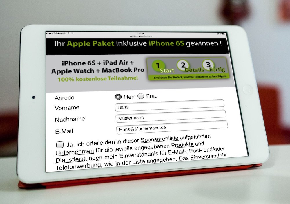 Apple-Paket inklusive iPhone 6S gewinnen