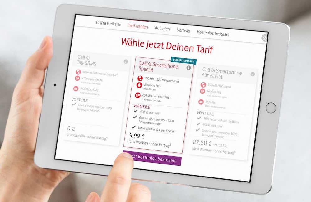 D-Netz- 9,99 EUR ohne Vertrag mit 750 MB LTE, Vodafone-Flat + 200 Frei-Einheiten