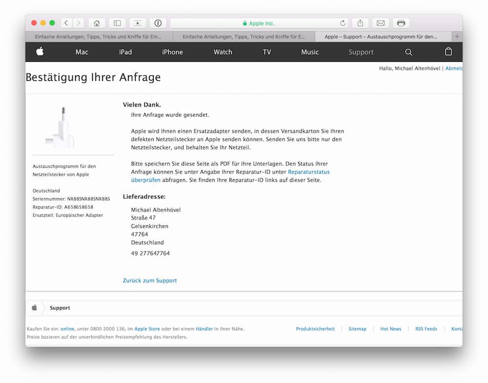 Netzteilstecker von Apple Austauschprogramm angelaufen