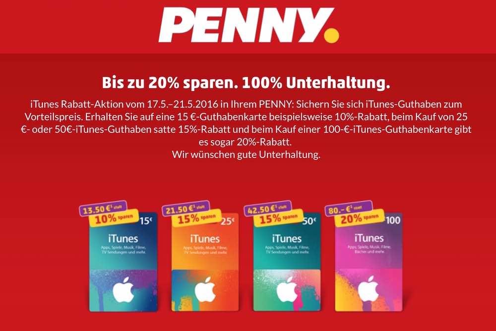 Bis 21.05.2016: iTunes-Karten bis zu 20% günstiger bei Penny