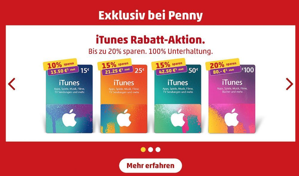 iTunes Geaschenk Karten 20 Prozent Rabatt günstiger Penny