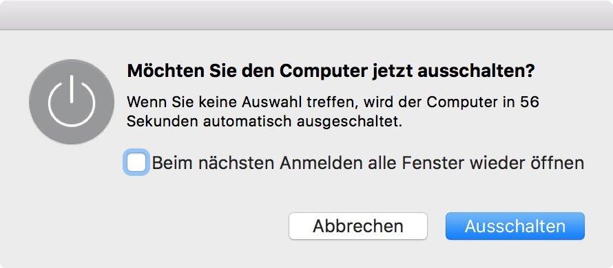 Möchten Sie den Computer jetzt ausschalten Mac umgehen