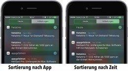 Sie können am iPhone die Nachrichten in der Mitteilungszentrale nach Apps gruppieren statt nach Eingangszeit. Zudem können Sie die App-Reihenfolge ändern.