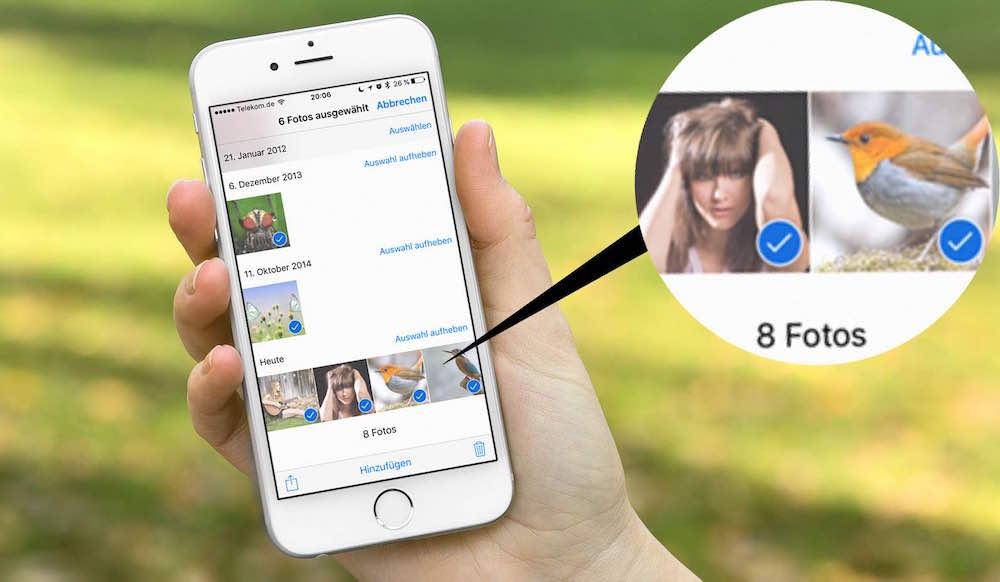 iPhone Mehrere Fotos gleichzeitig markieren löschen BB