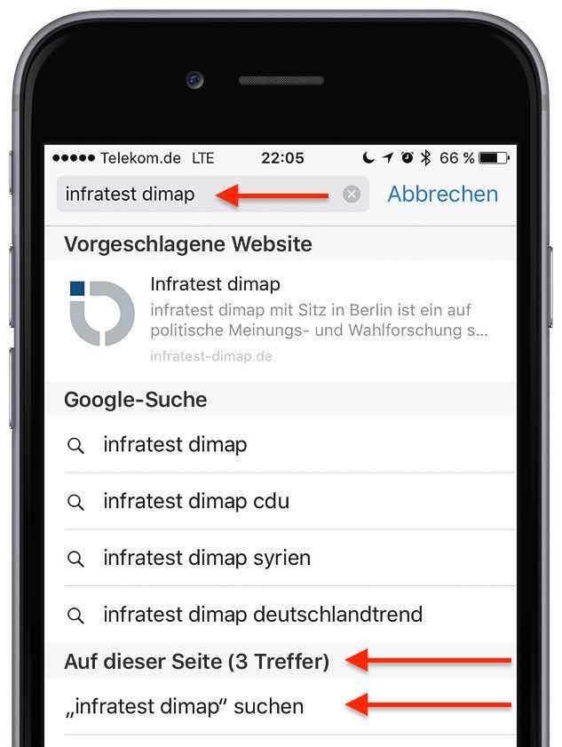 iPhone Safari Wort Zeichenkette suchen 2