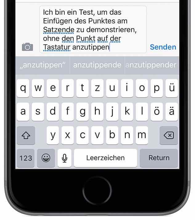 iPhone schneller tippen schreiben Tastatur Punkt Satzende