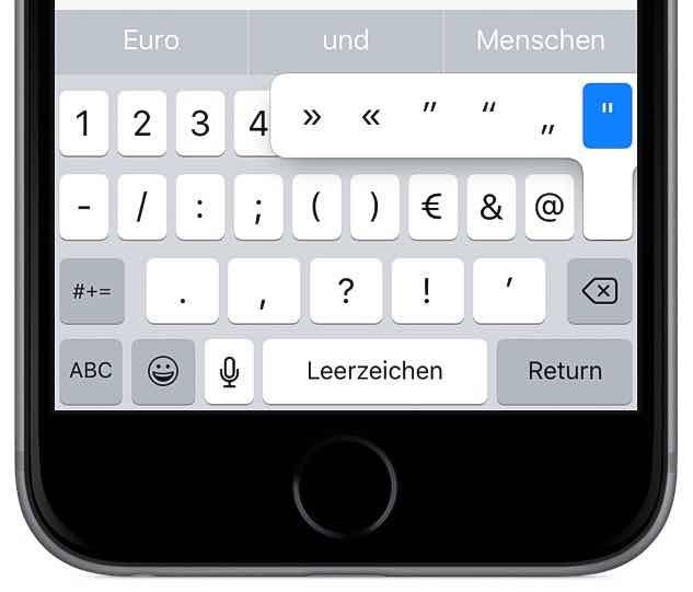 iPhone schneller tippen schreiben Tastatur Ziffernblock Sonderzeichen