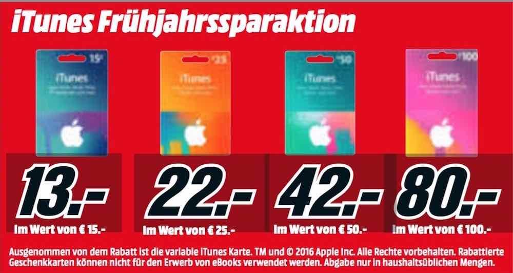 Bis zu 20 Prozent Rabatt auf iTunes-Karten bei Media Markt