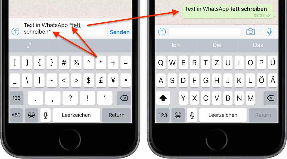 WhatsApp Text fett formatieren iPhone Android