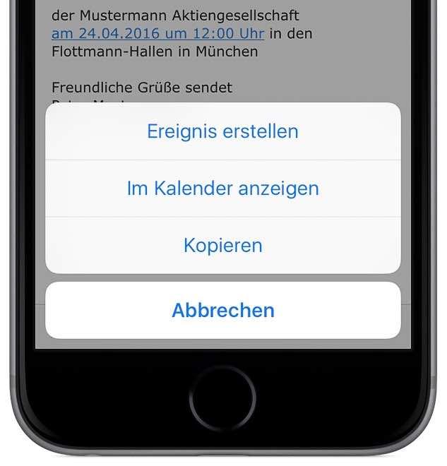 iPhone Termin erstellen aus E-Mail 2