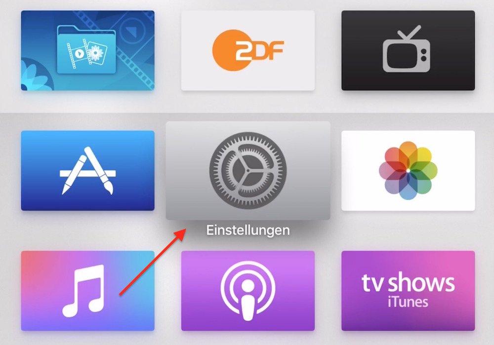 """Starten Sie das Apple TV 4, und navigieren zu der App """"Einstellungen"""":"""