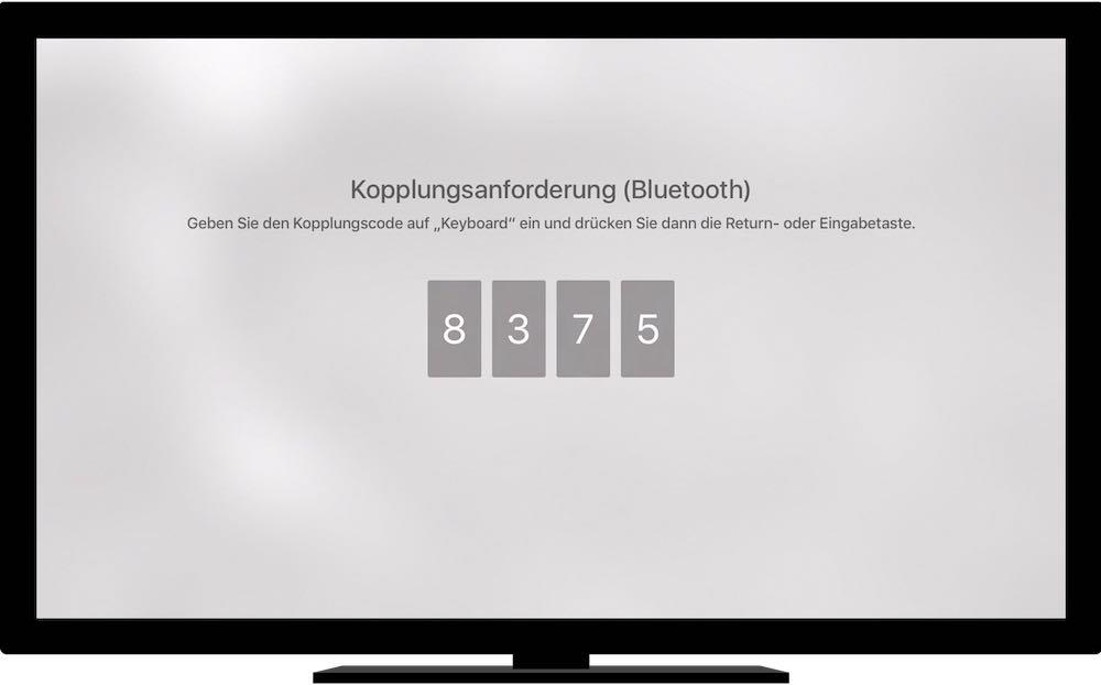 sobald die Suche erfolgreich war, müssen Sie auf der Tastatur zur Authentifizierung einen Koppelungs-Code eintippen, der auf dem Apple TV angezeigt wird