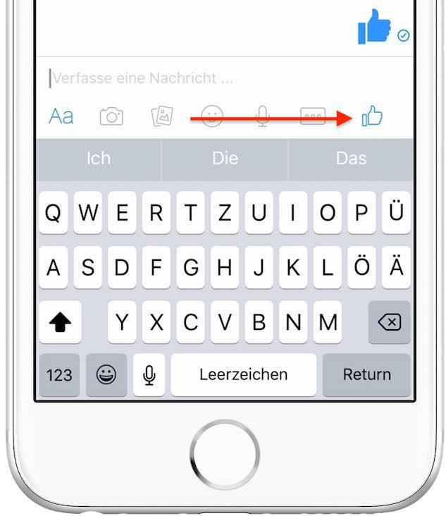 """Tippen Sie den """"Daumen hoch""""-Button im Facebook-Messenger an ..."""