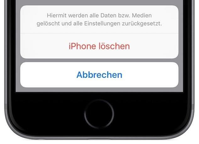 Schließlich werden Sie noch einmal gewarnt, dass das Löschen unumkehrbar ist und alle Ihre Daten auf dem iPhone gelöscht werden, für immer verloren sind und dass alle Einstellungen zurückgesetzt werden