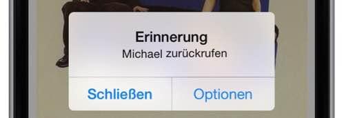 Zum gegebenen Zeitpunkt wird das iPhone eine Erinnerung auf dem Display des iPhones anzeigen und Sie an den Rückruf erinnern: