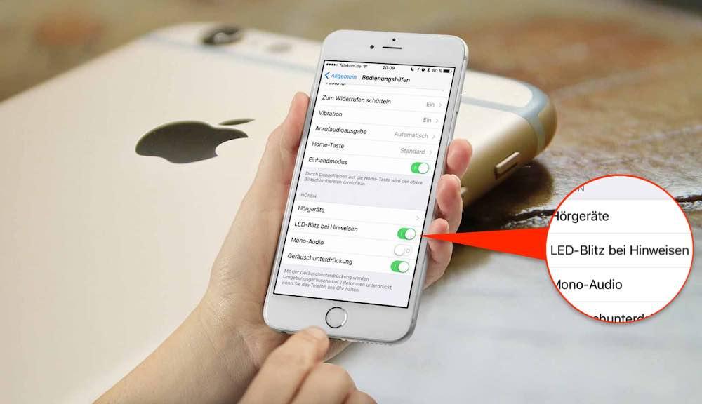 Sie können Ihr iPhone so einstellen, daßder LED-Blitz, der eigentlich für die Fotokamera gedacht ist, ein Leuchtsignal sendet, wenn jemand anruft oder eine SMS sendet.Wer schlecht hört oder taub ist, wird diese Funktion ebenfalls zu schätzen wissen.