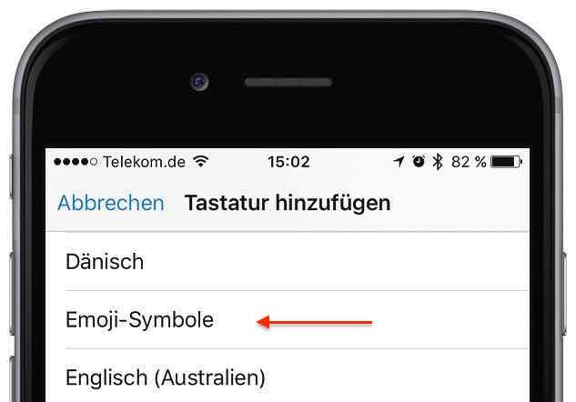"""Tippen Sie auf den Eintrag """"Emoji-Symbole"""" ..."""