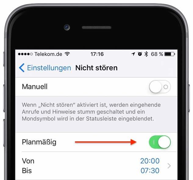 """Wenn Ihr Telefon nur zu bestimmten Zeiten """"stumm"""" ist, dann prüfen Sie, ob Sie den """"Nicht stören""""-Modus planmäßig aktiviert haben. Starten Sie dazu die App """"Einstellungen"""", und tippen Sie auf """"Nicht stören"""". Deaktivieren Sie ggf. den Schalter neben """"Planmäßig"""" bzw. ändern Sie die Zeiten wunschgemäß:"""