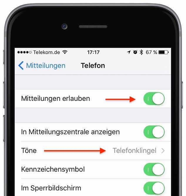 """Prüfen Sie in der App """"Einstellungen"""" unter """"Mitteilungen"""", ob die gewünschten Apps tatsächlich die Erlaubnis haben, Mitteilungen zu signalisieren. Um z. B. bei eingehenden Telefonanrufen den Klingelton hören zu können, müssen Sie umnter """"Teölefon"""" den Schalter neben """"Mitteilungen erlauben"""" aktivieren und bei """"Töne"""" einen Klingelton ausgewählt haben."""