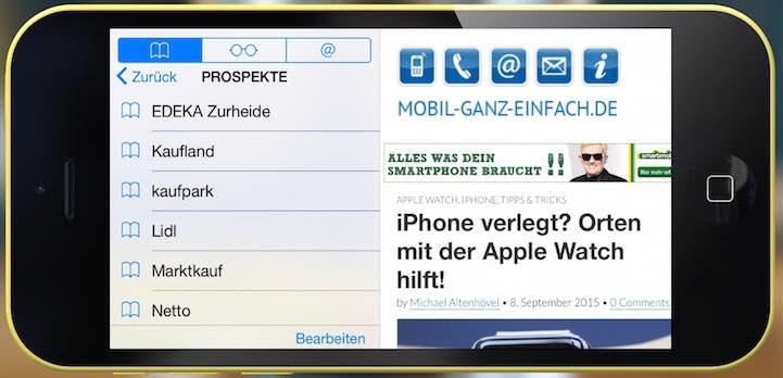 Um auf Ihre Favoriten im Handumdrehen ;-) zuzugreifen, brauchen Sie nur Ihr iPhone um 90° nach links oder rechts zu drehen: