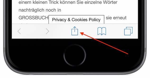 """Starten Sie den Internet-Browser """"Safari"""", und rufen Sie die gewünschte Webseite auf. Tippen Sie in der Menüleiste am unteren Bildschirmrand auf das """"Aktion""""-Symbol ..."""