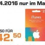 Noch bis Samstag 20% Rabatt bei Saturn auf iTunes-Karten: 10% auf die 15 EUR-, 15% auf die 25 und 50 EUR- und 20% auf die 100 EUR-Karte.