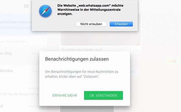Je nach Browser und je nach Konfiguration können Sie schließlich einstellen, ob Sie am Mac oder am PC über eingehende Nachrichten informiert werden möchten: