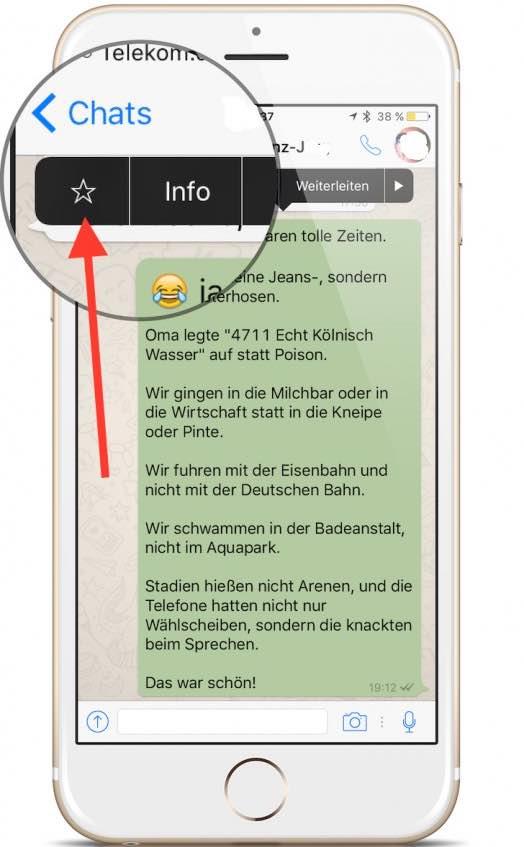 Um eine WhatsApp-Nachricht als Favorit zu kennzeichnen, tippen Sie die jeweilige Nachricht an. Halten Sie den Finger gedrückt, bis Sie dieses kontextsensitives Menü sehen: