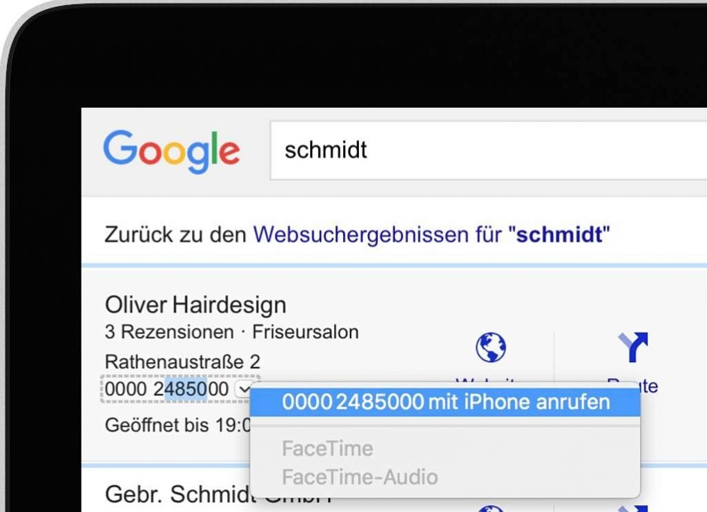 """... und klicken Sie mit der Maus auf """"Mit dem iPhone anrufen"""":"""