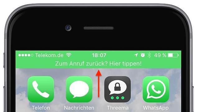 """Nehmen Sie jetzt Ihr iPhone in die Hand. Wenn am oberen Bildschirmrand eine grüne Warnmeldung erscheint mit dem Hinweis """"Zum Anruf zurück? Hier tippen!"""""""